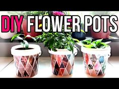 DIY Flower Pots by Recycling Yogurt Containers, Recycled Craft. An eco-friendly craft using repurposed materials. How to recycle 1 liter yogurt buckets or co. Recycled Crafts, Diy And Crafts, Crafts For Kids, Deck Railing Planters, Deck Railings, Small Flower Pots, Fleurs Diy, Patio Plants, Idee Diy
