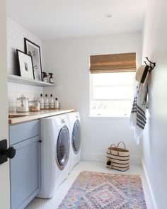 Laundry Room Inspiration, cottage laundry room design, modern farmhouse laundry room with blue cabinets, boho rug, and open shelf with white subway tile in mudroom with laundry Laundry Mud Room, Home, Family Room Design, Room Renovation, Laundry Room Inspiration, Room Inspiration, Room Remodeling, Laundry Room Rugs, Room Storage Diy