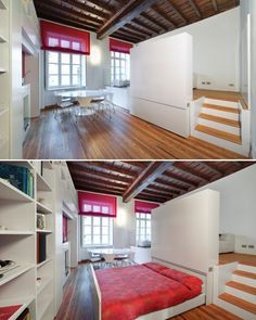 Small Apartment With Unique Hidden Bed Design