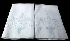 2 vintage white hand towels with fine, Appenzell style embroidery in pale blue.  From the QuirkyCoolTreasures shop at Etsy.com