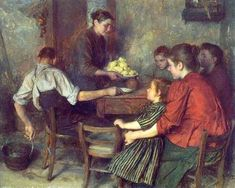 Emile Friant - The Frugal Repast, oil on canvas - a seemingly benign portrayal but so much emotion here if you pause long enough to see it. Henri Fantin Latour, Georges Seurat, Caspar David Friedrich, Henri Rousseau, Renoir, Fabric Drawing, Art Ancien, Suffragette, French Artists