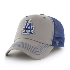 5431357cbac430 Los Angeles Dodgers 47 Brand Gray Taylor Closer with Blue Mesh Flexfit Hat  Cap
