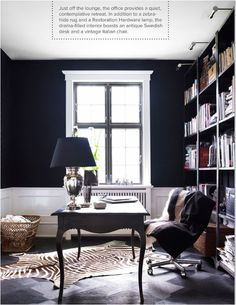 dark shelving, dramatic contrast.  Love the deep, inky blue on the walls.