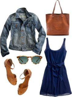 Date night. by tkow featuring a jean jacket    Madewell party dress, $198  Madewell jean jacket, $118  Madewell flat sandals, $80  Madewell genuine leather handbag, $168  Madewell sunglasses, $134