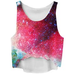 Ruby Gradient Galaxy Printed High Low Fashion Ladies Crop Top ($6.84) ❤ liked on Polyvore featuring tops, shirts, crop tops, galaxy, ruby, crop shirts, nebula shirt, galaxy print top, shirts & tops and ruby shirt