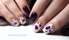 How to make a pretty Christmas tree pattern easily - My Nails Dark Purple Nails, Purple Nail Art, Purple Nail Designs, Nail Designs Spring, Nail Polish Designs, Nail Art Designs, Acrylic Nails Coffin Glitter, Accent Nails, Flower Nails