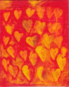 Yellow Hearts Painting - Original Mixed Media Art on 8 x 10 Canvas Panel - Artist with Autism. $30.00, via Etsy.