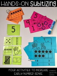 Hands-On Subitizing These subitizing activities are great for students who need hands-on practice recognizing numbers Included are four activities to build number sense for your students. Math For Kids, Fun Math, Math 2, Math Stations, Math Centers, Subitizing Activities, Number Sense Activities, Math Games, Toddler Activities