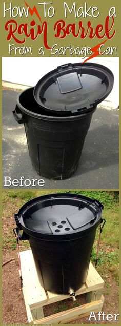 How to make a rain barrel from a garbage can DIY project for collecting rain water in a convenient, thrifty and green way. It is a cleaner, more natural way to care for your gardens, yard and landscape. Organic Gardening, Gardening Tips, Urban Gardening, Vegetable Gardening, Kitchen Gardening, Indoor Gardening, Gardening Direct, Bucket Gardening, Sustainable Gardening