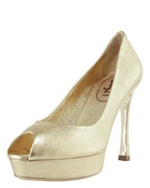 Yves Saint Laurent Metallic Mid-Heel Platform Pump