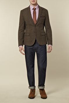 Ventuno 21 Slim Fit Overcheck Jacket Brown from Moss Bros