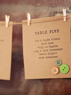 Button Details Buttons add an unexpected homespun feel to any piece of wedding day stationery, even the seating chart.