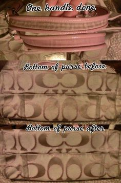Clean your fabric Coach purse with just Dawn dish soap in 2 cups of warm water. Use a toothbrush to scrub small sections at a time, wet and lathery, for about 20 seconds at a time then wipe excess soap with a damp rag. Be prepared to spend a couple o
