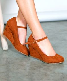 Loving this Tan Classic Mary Jane Wedge on #zulily! #zulilyfinds