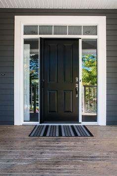 Match your doormat to the rest of your house or match your house to the doormat? It's your choice Painted Front Doors, Front Door Colors, Doormat, Windows And Doors, Contrast, Garage Doors, Entryway, Rest, Construction