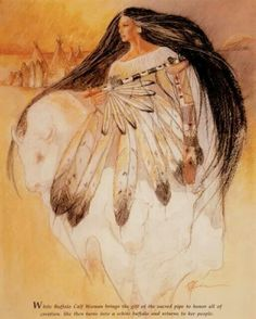 white buffalo art native woman