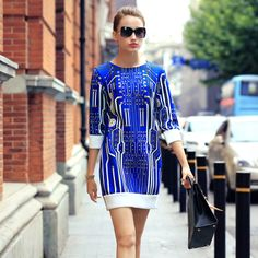 Womens Fashion New Autumn Circuit Printed Round Neck Half-sleeved Slim Dress