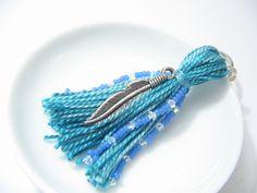 Blue Feather Beaded Tassel Keychain by lizbethsgarden on Etsy