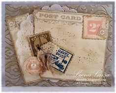 Card using the Postcard background stamp, Postage Due and Lovely Little Labels stamp sets and Beautifully Baroque embossing folder.