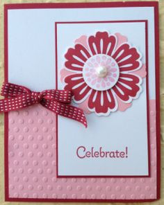 Stampin' Up! Fluff the flower to give it a bit of dimension Paper Cards, Diy Cards, Scrapbook Cards, Scrapbooking, Some Cards, Flower Cards, Homemade Cards, Stampin Up Cards, Making Ideas