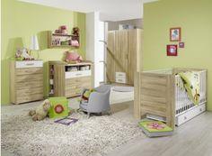 Chambre bébé contemporaine chêne clair/blanche Ronco