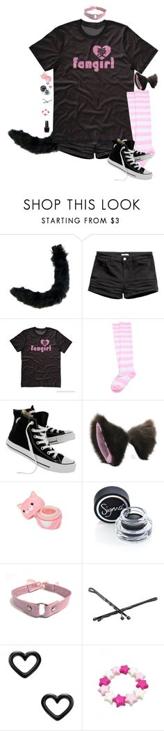 """I'd Wear This ^_^"" by adventuretimekitty ❤ liked on Polyvore featuring Converse, Forever 21, Sigma, Goody, Marc by Marc Jacobs, OPI, Pink and black"