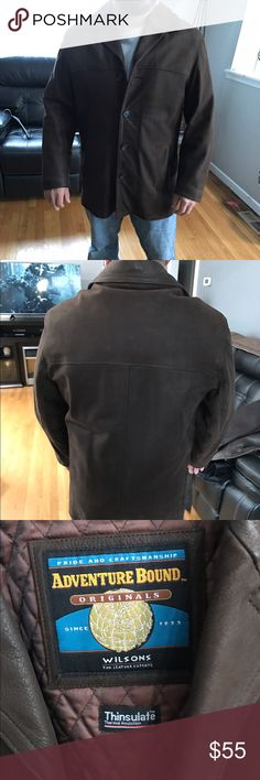Men's brown leather jacket Gently used button up front smoke free home Wilsons Leather Jackets & Coats