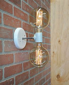 Industrial Style Double Light Wall Sconce or Ceiling Light Custom made with a double light White Porcelain Socket. This is a great accent