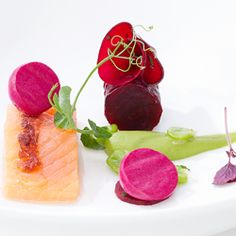 Seared brook trout with beets and peas, a recipe from Michelin starred chef, Andreas Caminada.