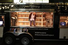 The mobile library of The Sketchbook Project - a global art project of handmade books. Little Free Libraries, Little Library, Free Library, Library Books, Reading Books, Sketchbook Tour, Sketchbook Project, Mcdonalds, Mobile Library
