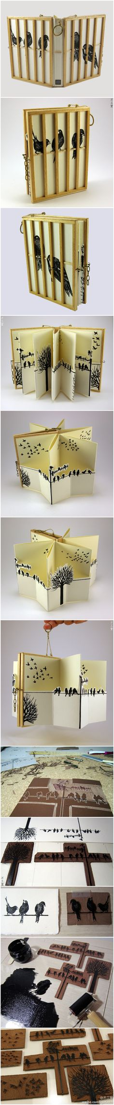 "Simply beautiful - Artist book ""Among Humans"" by Cassandra Fernandez - Lino-cut prints on paper and wood applications http://www.cassa-studio.com/work/ #book_arts"