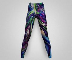 Psychedelic print leggings/yoga pants by AsianCraftShop on Etsy, $20.00