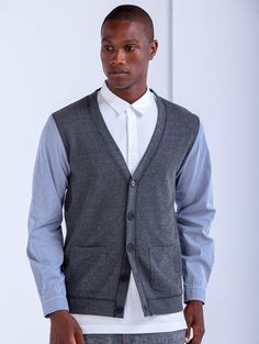 Woven Sleeve Cardigan - Marled Graphite – SHADES OF GREY BY MICAH COHEN