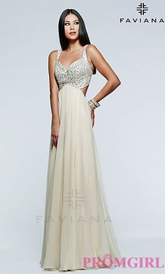 Image of floor length strapless sequin embellished bodice open back sweetheart gown Front Image