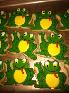 frog cookie The Liz Cookies Frog Cookies, Sugar Cookies, Cookie Icing, Cookie Cutters, Photo Booth Setup, Cookie Decorating, Decorating Ideas, Party Themes, Party Ideas
