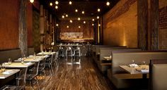 Everything I'm looking for: Modern design, lots of texture, warm tones of red, orange and brown Restaurant Booth, Industrial Restaurant, Rustic Restaurant, Restaurant Design, Tapas Restaurant, Rustic Industrial Decor, Industrial Loft, Modern Rustic, Acrylic Chair