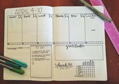 Bullet journal weekly layout with place for to-dos/routine tracker