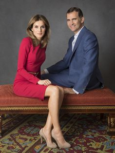 Princess Letizia and Prince Felipe of Spain pose at Zarzuela Palace on Sep 15, 2012 in Madrid, Spain.