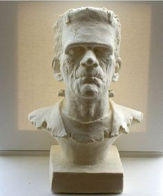 """Awesome Monster of Frankenstein Bust, One of a Kind in Cream, 10"""" Bust Sculpture, Halloween Decoration"""