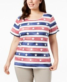 b8b95154f6696 Women s Plus Size American flag T-Shirt by Karen Scott at Macy s ...