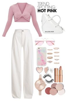 """""""pink"""" by pelinkurnaz on Polyvore featuring Maison Margiela, Oliver Peoples, Balenciaga, Forever 21, Charlotte Tilbury, Michael Kors, LunatiCK Cosmetic Labs, contestentry and NYFWHotPink"""