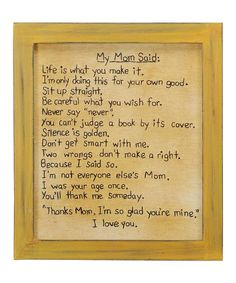 Look at this 'My Mom Said' Wall Art on #zulily today!