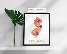 New Jersey map print USA state poster New Jersey state map print modern wall art USA prints mosaic map New Jersey art print New Jersey map