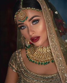 Asian Bridal Makeup, Bridal Makeup Looks, Bride Makeup, Bridal Looks, Hair Makeup, Eye Makeup, Desi Bride, Desi Wedding, Beige Wedding