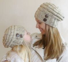 Mother's Day Gift! Mommy and Me Matching Hand Knit Slouch Hats with Coconut Buttons, Knit Toddler Hat, Knit Kids Hat, Knit Women's Hat on Etsy, $60.00
