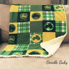 John Deere blanket sold by Doodle Baby. Shop more products from Doodle Baby on Storenvy, the home of independent small businesses all over the world. John Deere Bed, Baby Quilt Patterns, Quilting Patterns, Tractor Quilt, John Deere Decor, Doodle Baby, Rag Quilt, Quilt Blocks, Jacob's Ladder
