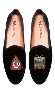 """del toro """"shit show"""" emoji loafers"""