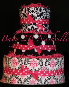 Diaper Cake for Girls Hot Pink and Black Damask Diaper Cake on Etsy, $92.00