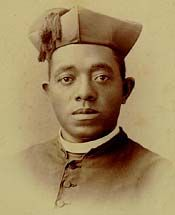 Servant of God Augustine John Tolton (April 1, 1854 - July 9, 1897), or Augustus Tolton, was the first Roman Catholic priest in the United States publicly known to be black when he was ordained in 1886. Born a slave, his family ended up in Quincy IL before the Civil War. He was educated by the priests there and they sent him to Rome for further study. He's on track for possible sainthood.