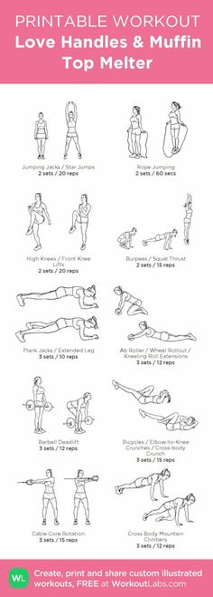 Love Handles & Muffin Top Melter Printable Illustrated Gym Workout for Women Love Handles · WorkoutLabs Fit Source by jessicacgriff The post Love Handles · WorkoutLabs Fit appeared first on Marilyn Fitness. Fitness Workouts, Gym Workouts Women, Workouts For Teens, Fun Workouts, At Home Workouts, Gym Workout Plan For Women, Gym Plan For Women, Ladies Workout, Woman Workout
